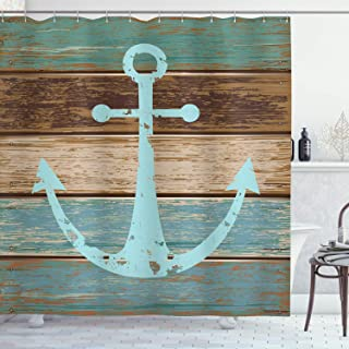Best Ambesonne Nautical Anchor Rustic Wood Long Fabric Shower Curtain Review