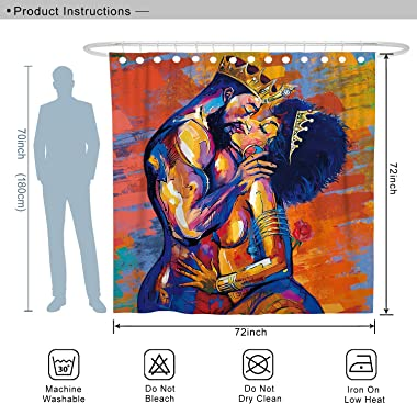 DESIHOM African American Shower Curtain Lovers Couple Shower Curtain Black Art Polyester Waterproof Shower Curtain 72x72 Inch