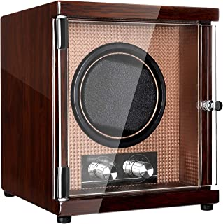 Watch Winder with Quiet Mabuchi Motor Unique12 Rotation Modes, High Gloss Brown
