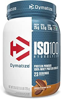 Dymatize ISO100 Hydrolyzed Protein Powder, 100% Whey Isolate Protein, 25g of Protein, 5.5g BCAAs, Gluten Free, Fast Absorbing, Easy Digesting, Chocolate Peanut Butter, 1.6 Pound