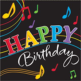Creative Converting 16 Count 3-Ply Happy Birthday Dancing Music Notes Lunch Napkins, Black/Red/Purple