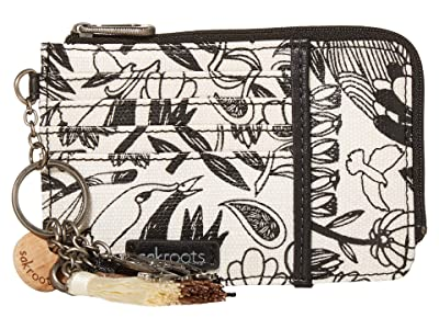 Sakroots Laguna Card Wallet (Black Peace Birds) Handbags