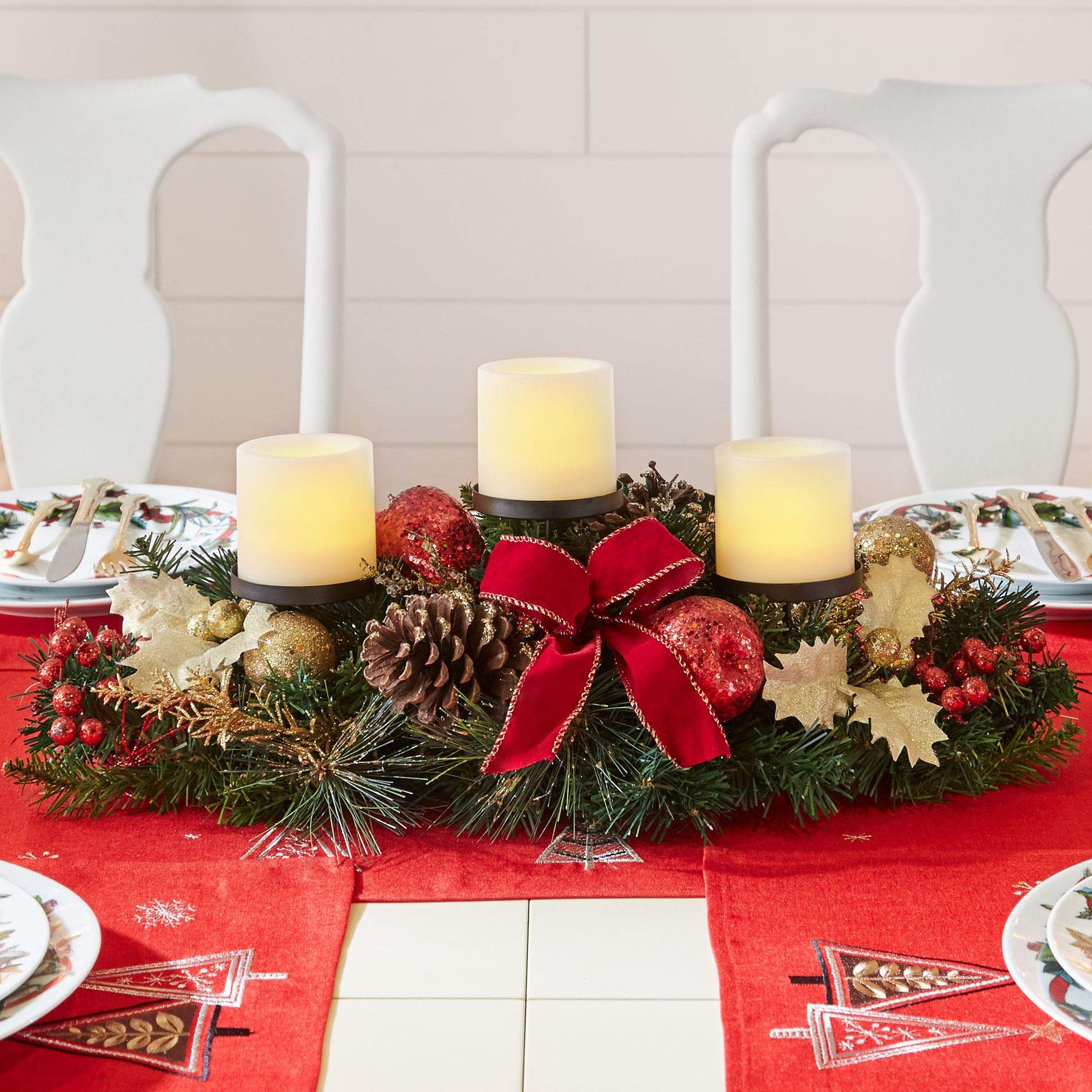 christmas table centerpieces amazon combrylanehome pre decorated candle holder centerpiece