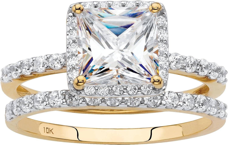 10K Yellow or White Gold Princess Cut Cubic Zirconia Halo Bridal Ring Set