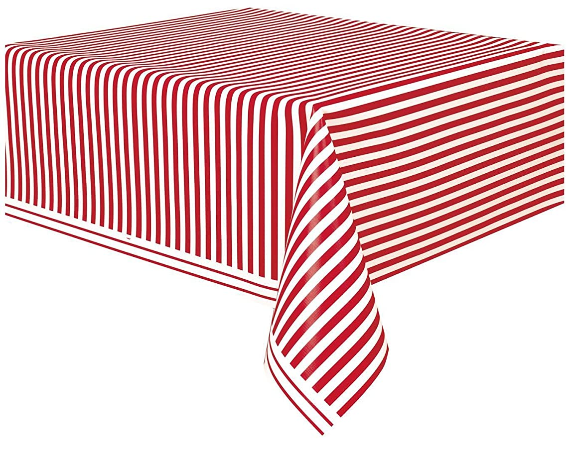 Red Striped Plastic Tablecloth, 108