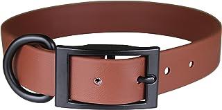 "OmniPet Zeta Regular Dog Collar with Black Metal Hardware, 3/4"" x 16"", Brown"