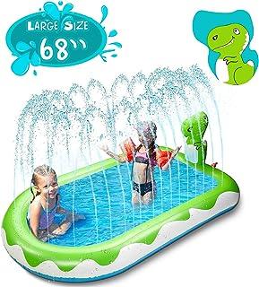 "X TOYZ Inflatable Sprinkler Pool for Kids Large 68"", 3 in 1 Dinosaur Splash Water Playing Pad Kiddie Pool, Spray Pad Swimm..."