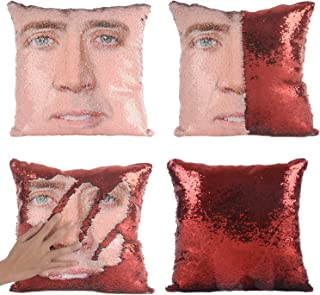 Best Merrycolor Nicolas Cage Mermaid Pillow Cover Sequin Pillow Case Funny Gag Gifts Reversible Sequin Pillow Cover Decorative Throw Cushion Case (Red) Review