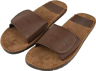 DRUNKEN Men's Casual Velcro Brown Flip Flop and Slide Sandal