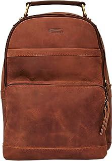 Menzo Rucksack aus echten Leder mit 13 Zoll Laptopfach ideal für die Arbeit, Damen und Herren deltabraun