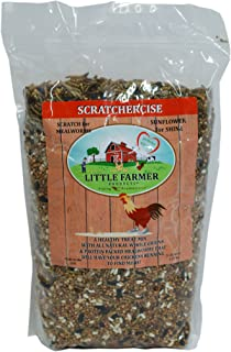 LITTLE FARMER PRODUCTS SCRATCHERCISE Premium Chicken Poultry Free-Range Scratch Treat Mix | Wheat, Milo, Peas, Sunflower, Safflower, Flax, Mealworms (5 lbs)