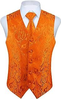 Enlision Men's Waistcoat Paisley Floral Jacquard Necktie Pocket Square Handkerchief Vest Suit Set
