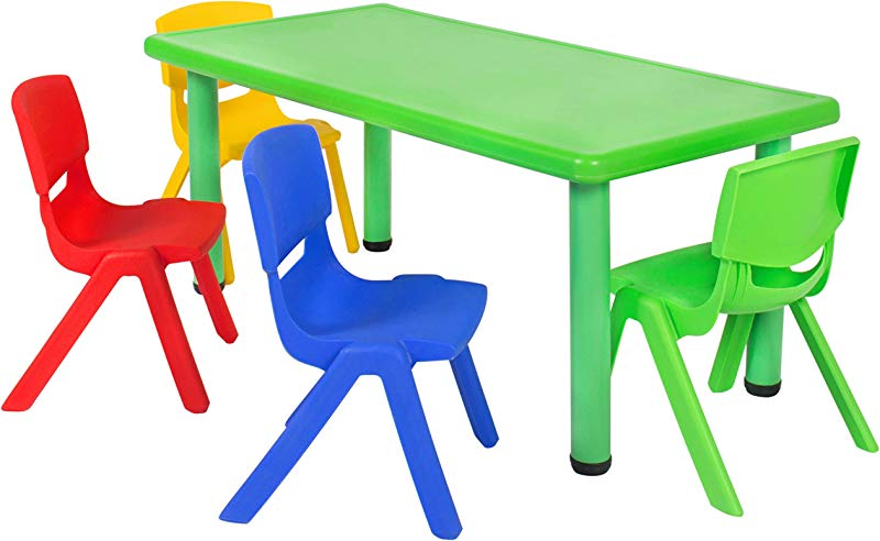 Best Choice Products Kids 5 Piece Plastic Activity Table Set With 4 Chairs Multicolor