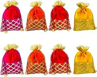 Evisha Women's Velvet Satin Potli Bags (Multicolour; 25 x 18 cm) -8 Pieces