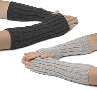 Flammi Women's 2 Pairs Cable Knit Arm Warmers Thumbhole Long Fingerless Mittens Gloves