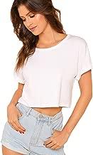 SweatyRocks Women's Casual Round Neck Short Sleeve Soild Basic Crop Top T-Shirt