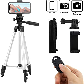 Coching Phone Tripod, 42 Inch 106cm Aluminum Lightweight Tripod for iPhone/Cellphone, Camera and GoPro, Quick Release Plate, Bluetooth Remote Control, Phone Clip and Gopro Mount, Carrying Bag (Silver)