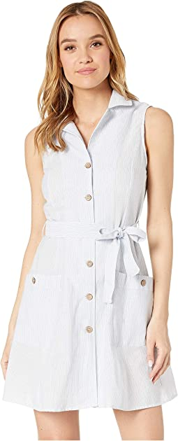 Button Front Tie Waist Sleeveless Shirtdress w/ Pockets