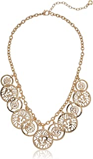 Women's Gold Coin Frontal Necklace, One Size
