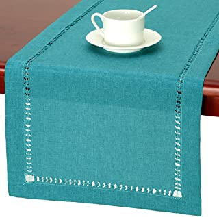 Grelucgo Handmade Hemstitch Teal Table Runner Dresser Scarf, Rectangular 14 by 48 Inch