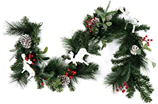CraftMore Christmas Pine Garland with Berries Moose Cutouts and Pine Cones 6'