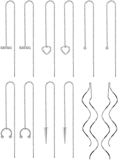 Jstyle 6 Pairs Stainless Steel Threader Chain Tassel Dangle Earrings for Women Wave Ball Twist Shape Minimalist Long Chain...