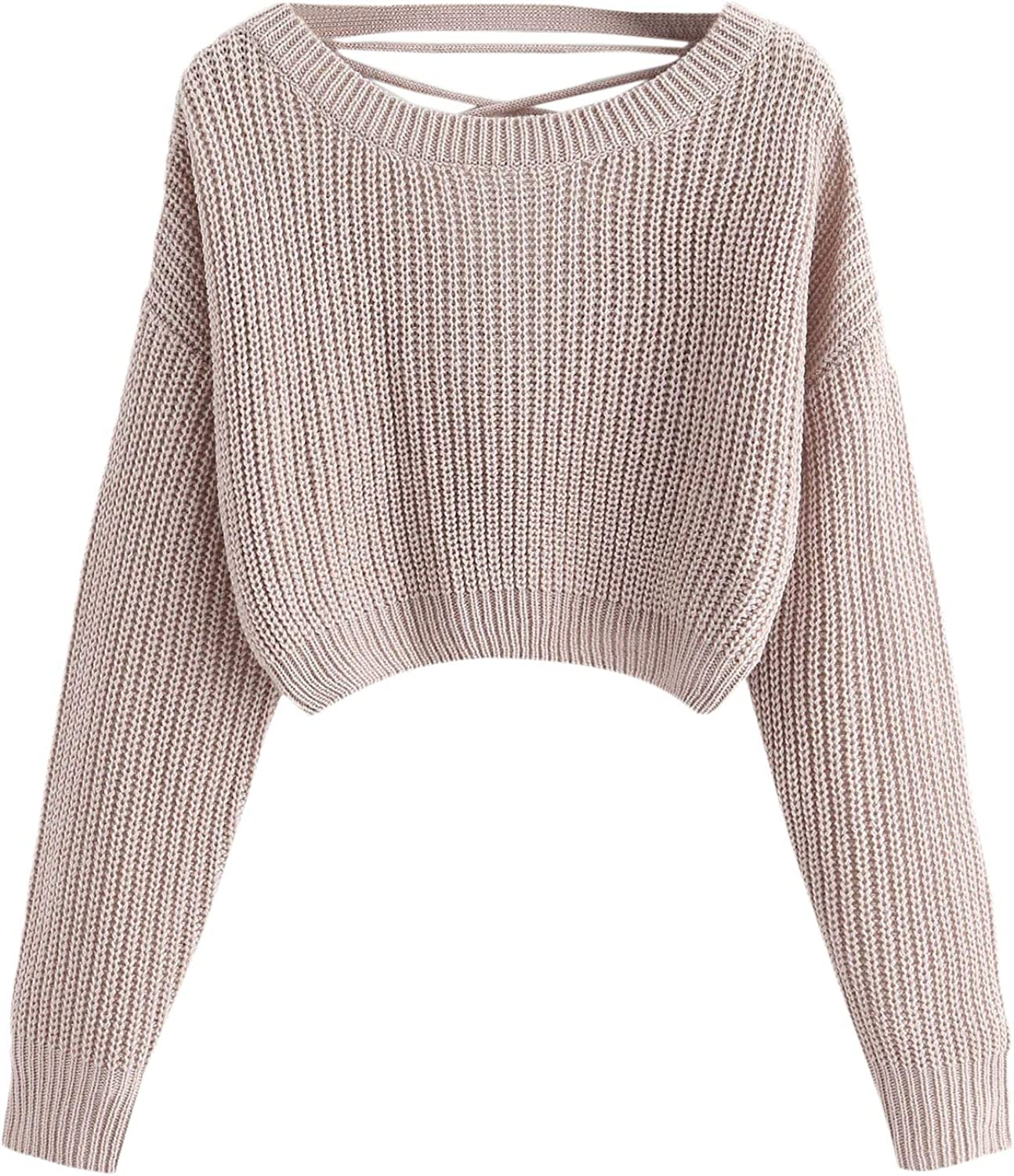 Floerns Women's Lace-Up V Back Long Sleeve Round Neck Crop Pullover Sweater
