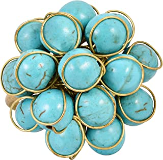 AeraVida فريدة مصنوعة يدويا الجبهة المقواة حجر الفيروز خاتم النحاس العضوي