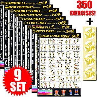 Eazy How To Multi Pack Workout Exercise Banner Poster Train Endurance, Tone, Build Strength & Muscle Big Home Gym Chart 28 x 20
