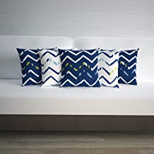 Divine Casa Micro Polyester 100 GSM Geometric Print Set of 5 Cushion Covers, Blue & White - (40cm x 40cm)