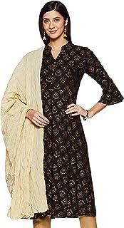 Amazon Brand - Tavasya Women's Rayon A-line Kurta with Dupatta