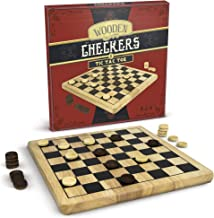 Brybelly Wooden Checkers & Tic-Tac-Toe 2-in-1 Game Set - Reversible Classic Board Game for Family Game Night with Traditio...
