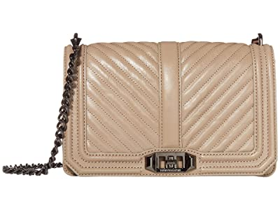 Rebecca Minkoff Chevron Quilted Love Crossbody (Sandrift) Cross Body Handbags