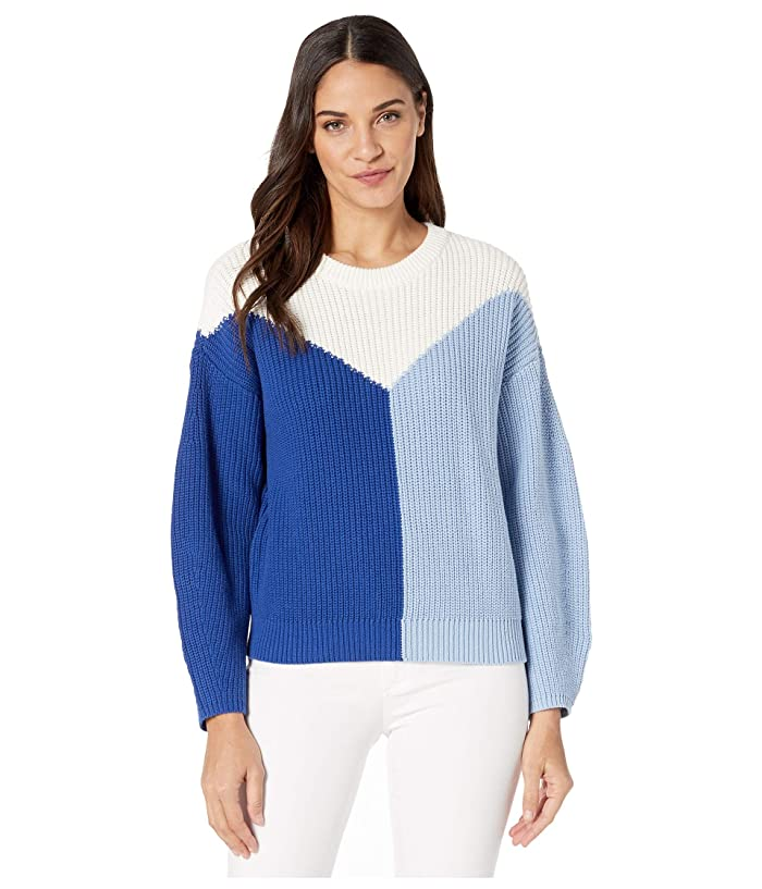 1.STATE  Crew Neck Color Blocked Cotton Sweater (Navy Sea) Womens Sweater