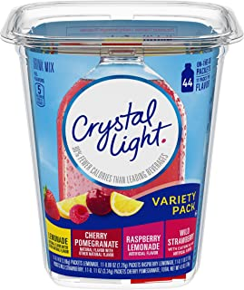 CRYSTAL LIGHT Variety Pack (44 Packets) | Refreshing Fruity Flavors: Lemonade, Cherry Pomegranate, Raspberry Lemonade & Wild Strawberry (with 60 mg of Caffeine) | Zero Sugar & 5 Calories Per Serving