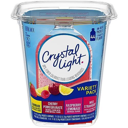 Crystal Light Lemonade, Raspberry Lemonade, Wild Strawberry & Cherry Pomegranate Variety Drink Mix Pack (44 On-the-Go Packets)