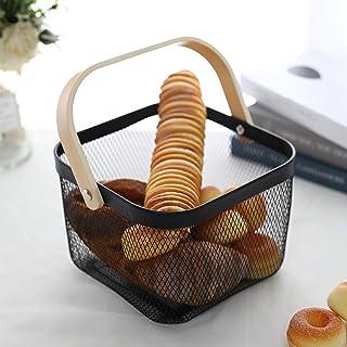 JHY DESIGN Cesta organizadora de almacenamiento con asa de madera de metal estilo vintage rústico estilo cesta de gran...