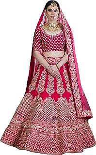 Fast Fashions Women's Silk Embroidered Semi-Stitched Lehenga Choli (Pink_Free Size)