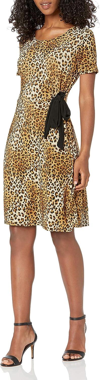 Star Vixen Women's Plus-Size Short Sleeve Dress with Side Tie, Leopard, 2X