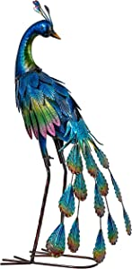 TERESA'S COLLECTIONS 22.4 inch Metal Peacock Decor Garden Sculptures and Statues, Standing Peacock Yard Art for Outdoor Decor, Bird Lawn Ornament for Outside Porch Patio Decorations