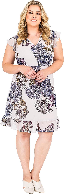 Standards & Practices Plus Size Women's Grey Floral Chiffon Mini Ruffle Dress