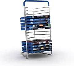 Atlantic Nestable 16 Blu-Ray/Games (Small Format) Rack - Space Saving Modern Design in High End Gunmetal Finish with Blue Molded Handle, PN63735592