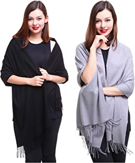 REEMONDE Large Extra Soft Cashmere Blend Women Pashmina Shawl Wrap Stole Scarf (2 Pack - Black & Grey)