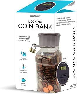 Digital Energy Locking Digital Coin Bank Savings Jar - Pennies Nickles Dimes Quarter Half Dollar Change Counter | Clear Jar with LCD Display