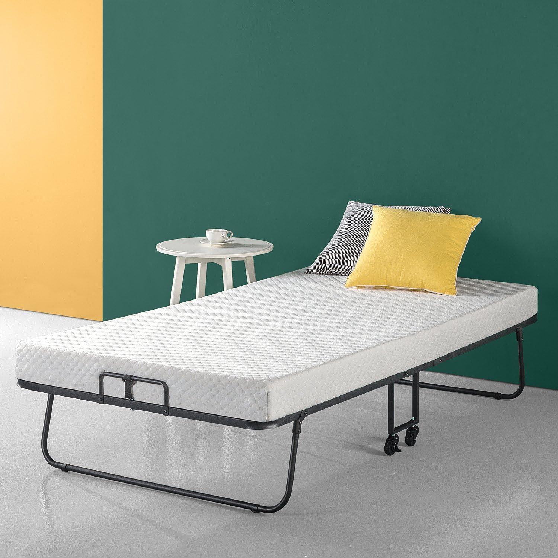 Zinus Roll Away Smart Guest Bed Frame with 4 Inch Comfort Foam Mattress, Twin
