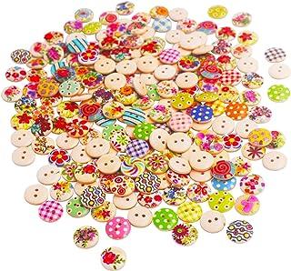 BETOY 200 pcs Bottoni in legno dipinto Colorati -Assortiti Bottoni Decorativi 2 Fori - Perfetti per tutte le attività arti...