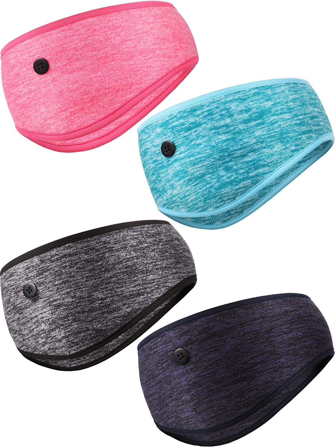 4 Pieces Large discharge sale Yoga Button Headbands Warmer Muff Head Elastic Cheap super special price Ear