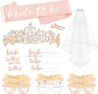 Rose Gold Bachelorette Party Decorations Kit, Konsait Bridal Shower Favor Supplies Gift Hen Party Bachelorette Accessories| Metal Rhinestone Tiara | Bride to Be Sash | Veil | Metallic Team Bride Tattoos