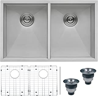 Ruvati 30-inch Undermount 50/50 Double Bowl Zero-Radius 16 Gauge Stainless Steel Kitchen Sink - RVH7350