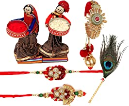 Combo bhaiya bhabhi pair Rakhi,1Kada roli chawal en een designer morpankh stick voor tilak